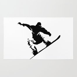 Snowboarding Black on White Abstract Snow Boarder Rug