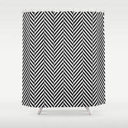 Classic Black & White Herringbone Pattern Shower Curtain