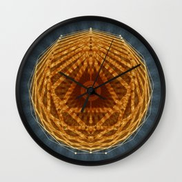 Mandala of Radiant Abundance (grey-gold) Wall Clock