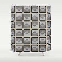 Horizons Geometric Pattern - Black Grey Beige Shower Curtain