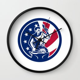 American Farrier USA Flag Icon Wall Clock