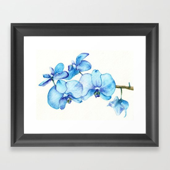 Blue Orchids Two - Watercolor Framed Art Print