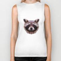 raccoon Biker Tanks featuring Raccoon by Roxy Color