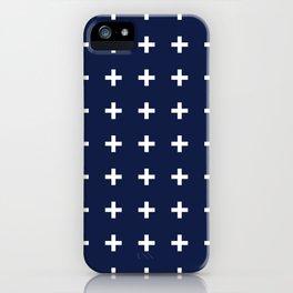 Navy Blue Swiss Cross Minimal iPhone Case