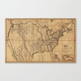 Map of the United States by John Melish (1818) 3rd State Canvas Print