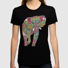 painted elephant aqua spot Black LARGE Womens Fitted Tee