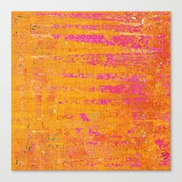 Orange & Hot Pink Abstract Art Collage Canvas Print