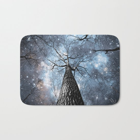 Wintry Trees Galaxy Skies Steel Blue Bath Mat
