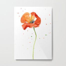 Red Poppy Painting Watercolor Metal Print