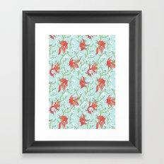 Goldfish, Mask and Magnolia Pattern Framed Art Print