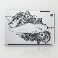 reassurance iPad Cases featuring Narwhal by Isabel Peace