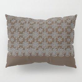 Rich Chocolate Color Crochet Square Lace Pattern Pillow Sham