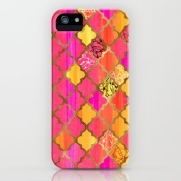 Moroccan Tile Pattern In Pink, Red, Orange, And Gold iPhone Case