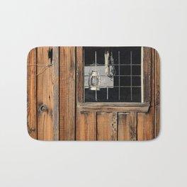 Rustic Cabin Window With Oil Lantern Bath Mat
