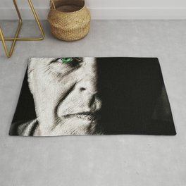 Black and white painting - Man with one green eye - Jeanpaul Ferro Rug