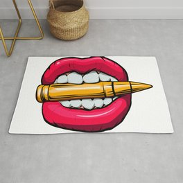 bullet in mouth. Rug