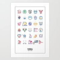 nba Art Prints featuring NBA Teams logos by Will Wild