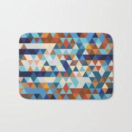 Geometric Triangle Blue, Brown  - Ethnic Inspired Pattern Bath Mat