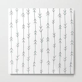Grey, Steel: Arrows Pattern Metal Print