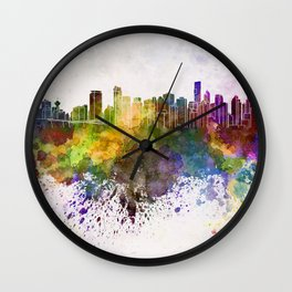 Vancouver skyline in watercolor background Wall Clock
