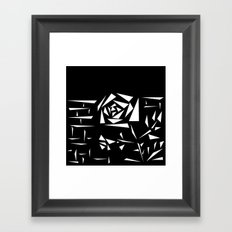 Black and white abstract pattern of Roses. Triangles .1 Framed Art Print