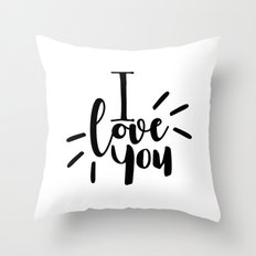 I Love You | Black And White Typography Throw Pillow