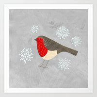 robin Art Prints featuring Robin by Nic Squirrell