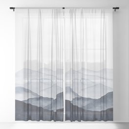 Watercolor Mountains Sheer Curtain