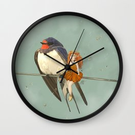 Molly, Flower fairy and Hirondelle, her Swallow friend Wall Clock