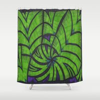 lime green Shower Curtains featuring Lime Green Flock by Sarah J Bierman