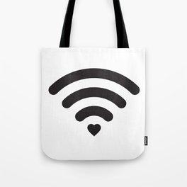 Love & WiFi - Black & White Tote Bag