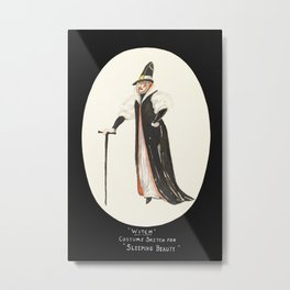 Sleeping Beauty -  Witch. White gown with black coat, and high collar. Pilgrim's hat and walking stick Metal Print