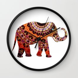 Exotic Brocaded Brown Rust and Orange Elephant Wall Clock