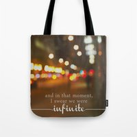 the perks of being a wallflower Tote Bags featuring perks of being a wallflower - we were infinite by lissalaine