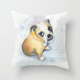 Sweet Bulldog Puppy Throw Pillow