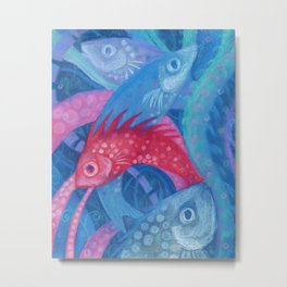 The Spawning, underwater art, pink & blue fish Metal Print