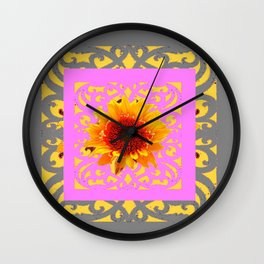Grey Pink Red Golden Sunflowers Yellow Pattern Art Wall Clock