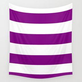 Wide Horizontal Stripes - White and Purple Violet Wall Tapestry
