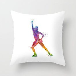 Ice Skating Girl 2 Colorful Watercolor Art Throw Pillow