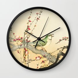 Songbird on peach tree - Vintage Japanese Woodblock Print Art Wall Clock
