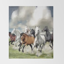 8 Horses Running Throw Blanket