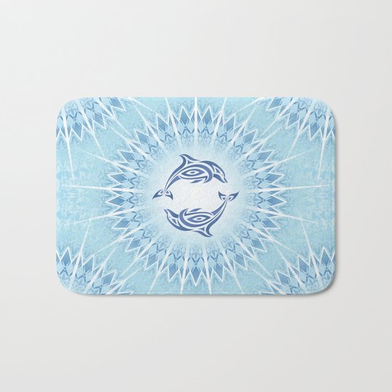Dolphins Mandala Blue Bath Mat