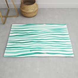 Irregular watercolor lines - turquoise Rug