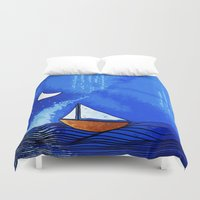 sailing Duvet Covers featuring Sailing by Brontosaurus