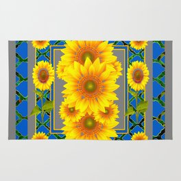 DECORATIVE BLUE-GREY SUNFLOWERS ART Rug