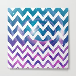 Universal Geometry - Chevron with purple and aqua galaxy  Metal Print