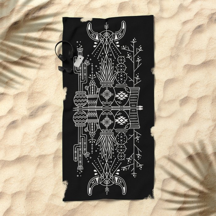 Santa Fe Garden – White Ink on Black Beach Towel