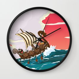 Viking Invasion fleet in the evening sunset Wall Clock