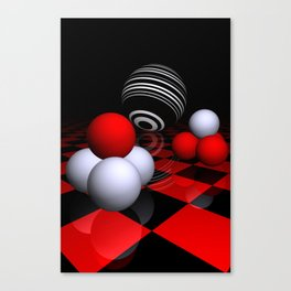 3D in red, white and black -14- Canvas Print