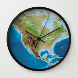 Topographic map of North America Wall Clock